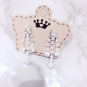 Rhinestone Bling Prom Wedding Earrings